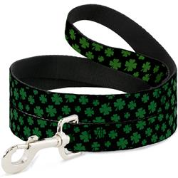 Dog Leash - St. Pat's Clovers Scattered Black/Green