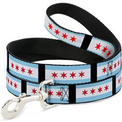 Dog Leash - Chicago Flags/Black
