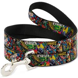 Dog Leash - Retro Marvel Comic Books Stacked CLOSE-UP
