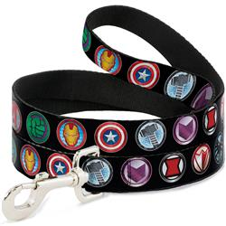 Dog Leash - 9-Avenger Icons Black/Multi Color
