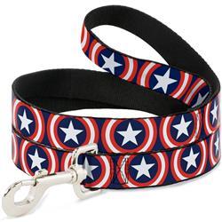 Dog Leash - Captain America Shield Repeat Navy