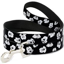 Dog Leash - Mickey Mouse Expressions Scattered Black/White