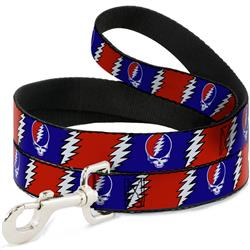 Dog Leash - Steal Your Face w/Lightning Bolt Repeat Red/White/Blue