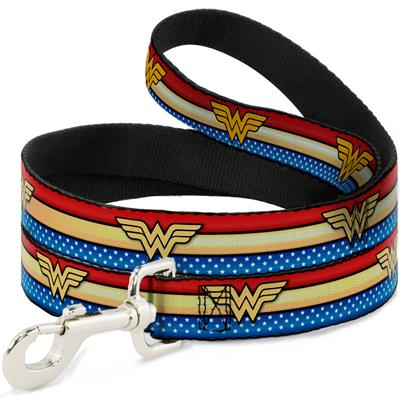Dog Leash - Wonder Woman Logo Stripe/Stars Red/Gold/Blue/White
