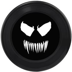 Dog Toy Frisbee - Venom Face Icon Black Grays White