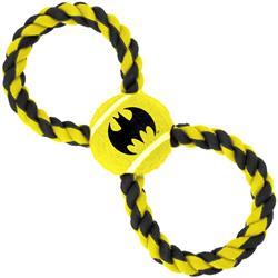 Dog Toy Rope Tennis Ball - Batman Bat Icon Yellow Black + Black Yellow Rope