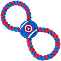 Dog Toy Rope Tennis Ball - Captain America Shield Blue + Blue Red Rope