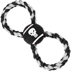 Dog Toy Rope Tennis Ball - Punisher Logo4 Black + Black White Rope
