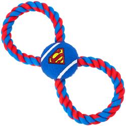 Dog Toy Rope Tennis Ball - Superman Shield Blue + Blue Red Rope