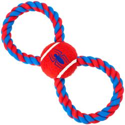 Dog Toy Rope Tennis Ball - Spider-Man Spider Red + Blue Red Rope