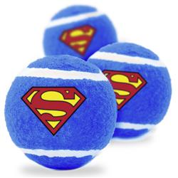 Dog Toy Squeaky Tennis Ball 3-PACK - Superman Shield Blue