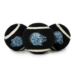 Dog Toy Squeaky Tennis Ball 3-PACK - Star Wars Millennium Falcon Black Gray
