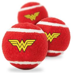 Dog Toy Squeaky Tennis Ball 3-PACK - Wonder Woman Logo Red Yellow