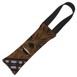 Dog Toy Squeaky Tug Toy - Star Wars Chewbacca Face CLOSE-UP Brown - BLACK Handle Webbing