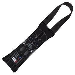 Dog Toy Squeaky Tug Toy - Star Wars Darth Vader Face CLOSE-UP + Utility Belt Elements - BLACK Handle Webbing