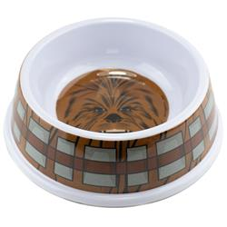 Single Melamine Pet Bowl - 7.5 (16oz) - Star Wars Chewbacca Face + Bandolier Bounding Browns Gray