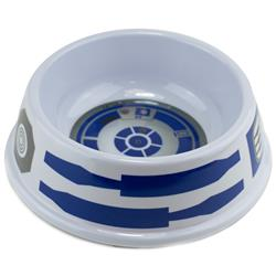 Single Melamine Pet Bowl - 7.5 (16oz) - Star Wars R2-D2 Top View + Parts Bounding White Blue Gray