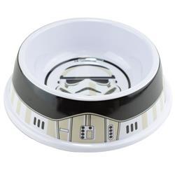 Single Melamine Pet Bowl - 7.5 (16oz) - Star Wars Stormtrooper Helmet + Utility Belt Bounding White Black Grays
