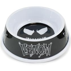 Single Melamine Pet Bowl - 7.5 (16oz) - Venom Face Icon + Text Black Grays White