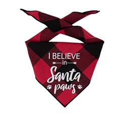 Christmas Bandana - Red Plaid Flannel Dog Bandana  - I BELIEVE IN SANTA PAWS