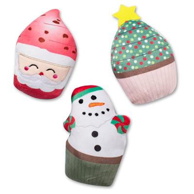 Christmas Cupcakes Mini Dog Toys - Set Of 3