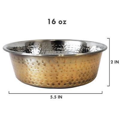Antique Brass Hammered Design, Dish Washer Safe Dog Bowl