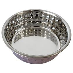 Diamond Patterned Stainless Steel Dog Bowl in Purple