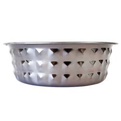 Diamond Patterned Stainless Steel Designer Dog Bowl in Black