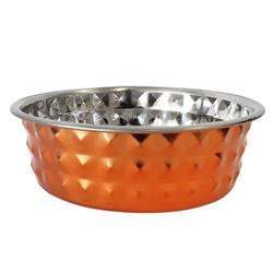 Diamond Patterned Stainless Steel Dog Bowl in Bronze