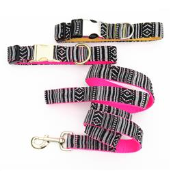 PAZ Black + White Beachy Fabric Dog Collar