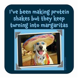 Protein Shakes turning into Margaritas Coaster
