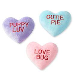 Conversation Hearts Small Plush Dog Toys Set Of 3