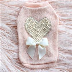 Pearl Heart Dog Sweater: Peach