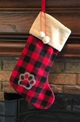 Watch Plaid Xmas Stockings with Paw & Pom Poms