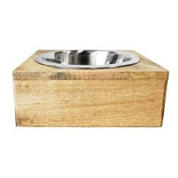 Square Mango Wood Bowl Holder with Stainless Steel Dog Bowl