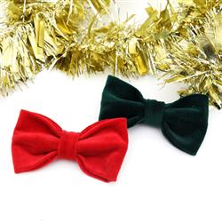 Christmas Red & Green Velveteen Dog Collar Bow Tie