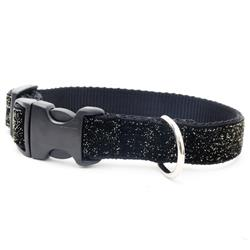 Starlight Glitter Velvet Dog Collar - Black