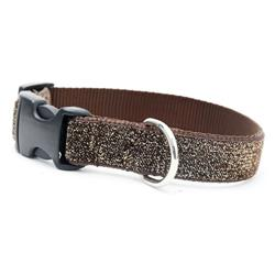 Starlight Glitter Velvet Dog Collar - Brown