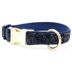 Starlight Glitter Velvet Dog Collar - Navy