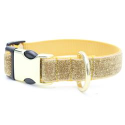 Starlight Glitter Velvet Dog Collar - Gold