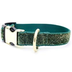 Starlight Glitter Velvet Dog Collar - Evergreen