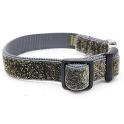 Starlight Glitter Velvet Dog Collar - Grey