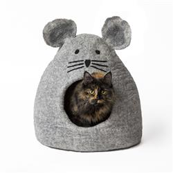 Wool Pet Cave, Mouse, Grey