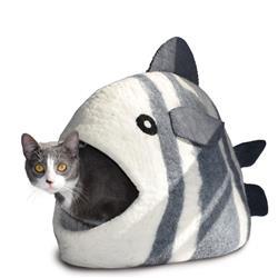 Wool Pet Cave, Fish, White/Grey