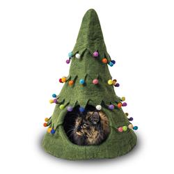 Wool Pet Cave, Holiday Tree, Green