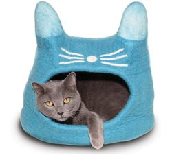 Wool Pet Cave, Cat Head, Turquoise