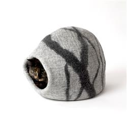 Wool Pet Cave, River Stone, Light Grey