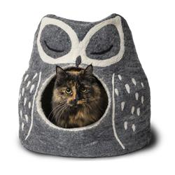 Wool Pet Cave, Owl, Grey