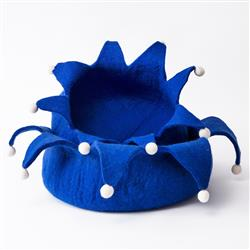 Wool Pet Basket, Petals, Holiday, Blue
