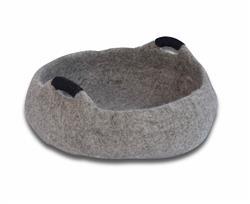 Wool Pet Basket, Handles, Grey
